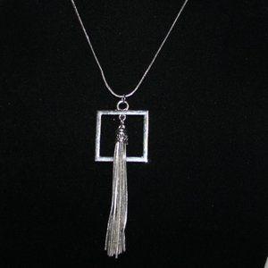 """Long silver tassel necklace 28"""""""